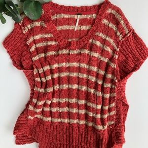FREE PEOPLE   short sleeve tattered sweater M